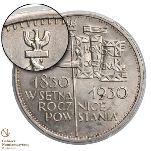 5 złotych 1930 Sztandar głęboki – głowa orła NA WPROST ząbka obrzeża – ząbki drobne