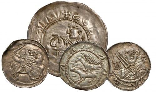 Brakteat Bolesława III Krzywoustego w zestawieniu z denarami jego następcy Władysława II Wygnańca (skala zachowana)
