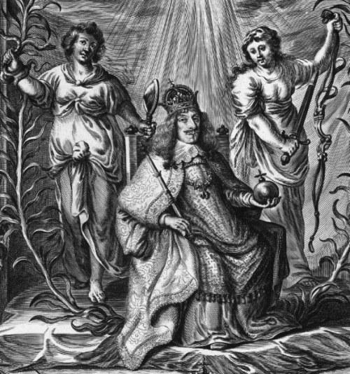 Fragment apoteozy na koronację Jana II Kazimierza Wazę na króla Polski i wielkiego księcia Litwy, źródło: domena publiczna