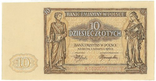 Projekt banknotu 10 złotych 1941