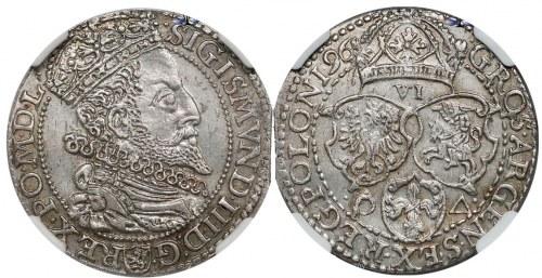 Szóstak malborski 1596 z DUŻĄ głową króla