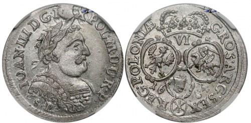 Szóstak bydgoski 1684 z inicjałami SP