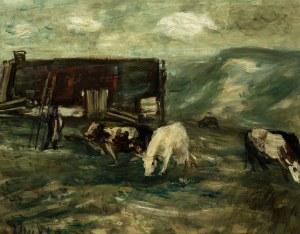 Zygmunt Menkes (1896 Lwów - 1986 Riverdale), Pejzaż z krowami