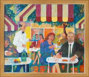 """Jan Szancenbach (1928 - 1998), """"Autoportret w kawiarni na Montmartre"""""""
