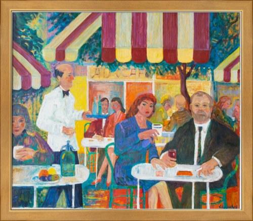 Jan Szancenbach (1928 — 1998), Autoportret w kawiarni na Montmartre