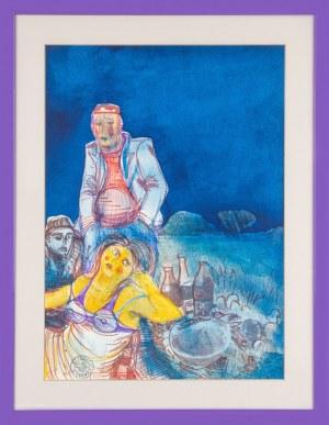Edward Dwurnik (1943 - 2018), Śniadanie na trawie z cyklu Moi bohaterowie, 1973 r.