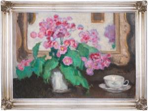 "Alfons Karpiński (1875 - 1961), ""Martwa natura z kwiatami, filiżanką i lustrem"""