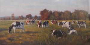 Wojciech Piekarski, Pejzaż z krowami, 2018
