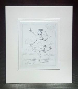 OLBIŃSKI RAFAŁ, szkic, ołówek papier (w ramie 59x52), 31x25cm