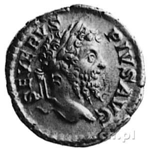 denar, Aw: Popiersie w wieńcu na głowie i napis: SEVERV...