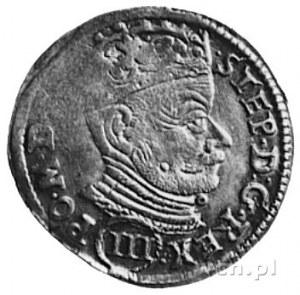 trojak 1581, Wilno, Aw: Popiersie i napis, Rw: Herby i ...