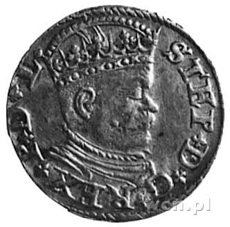 trojak 1586, Ryga, Aw: Popiersie i napis, Rw: Herb Rygi...