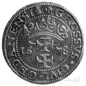 grosz 1578, Gdańsk, Aw: Popiersie i napis, Rw: Herb Gda...