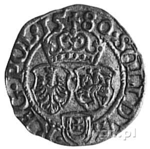 szeląg 1580, Olkusz, Aw: Monogram i napis, Rw: Tarcze h...