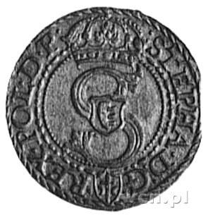 szeląg 1585, Malbork, Aw: Monogram i napis, Rw: Orzeł P...