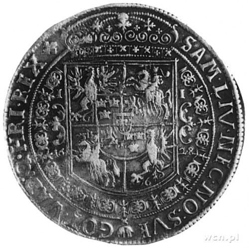 talar 1628, Bydgoszcz, Aw: Półpostać i napis, Rw: Tarcz...