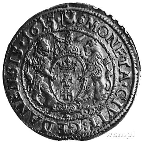 ort 1615, Gdańsk, Aw: Popiersie i napis, Rw: Herb Gdańs...
