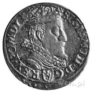 trojak 1601, Kraków, Aw: Popiersie i napis, Rw: Herby i...