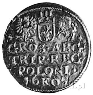 trojak 1605, Kraków, Aw: Popiersie i napis, Rw: Herby i...