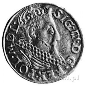 trojak 1619, Kraków, Aw: Popiersie i napis, Rw: Herby i...