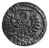 denar 1594, Gdańsk, Aw: Orzeł Prus Królewskich, Rw: Her...