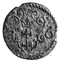 denar 1596, Gdańsk, Aw: Orzeł Prus Królewskich, Rw: Her...