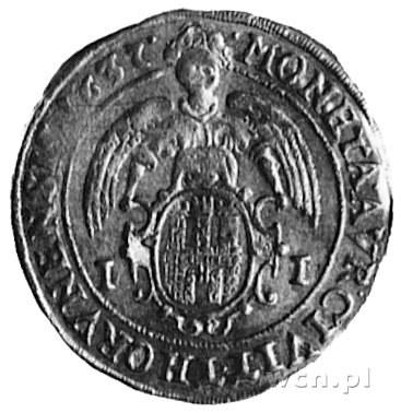 dukat 1637, Toruń, Aw: Popiersie i napis, Rw: Herb Toru...