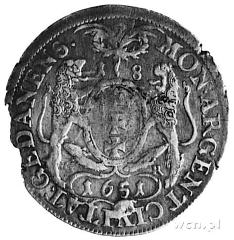 ort 1651, Gdańsk, Aw: Popiersie bez obwódki i napis, Rw...