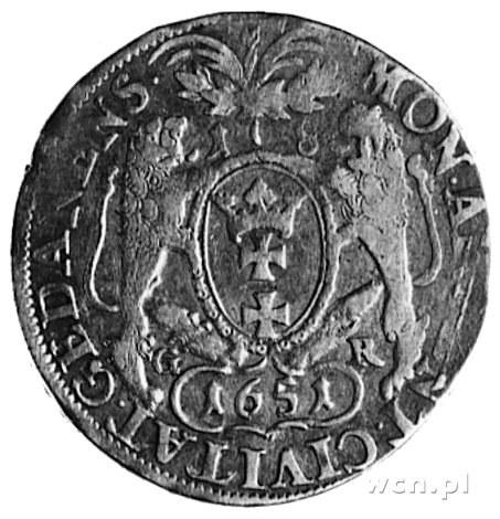 ort 1651, Gdańsk, Aw: Popiersie w obwódce, Rw: j.w., Gu...