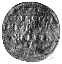 szeląg b.d., Toruń, Aw: Monogram, Rw: Napis i herb Toru...