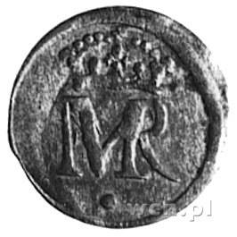 szeląg b.d., Elbląg, Aw: Monogram, Rw: Napis i herb Elb...