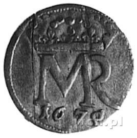 szeląg 1670, Gdańsk, Aw: Monogram, Rw: Napis i herb Gda...
