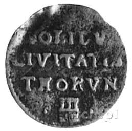 szeląg 1671, Toruń, Aw: Monogram, Rw: Napis i herb Toru...