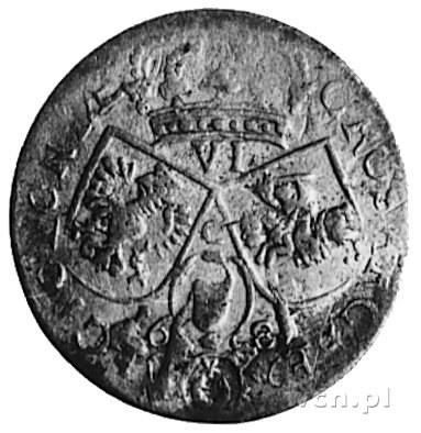 szóstak 1681, Kraków, Aw: Popiersie w zbroi i napis, Rw...