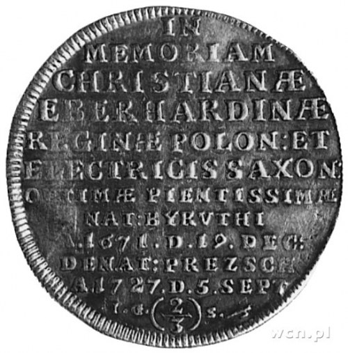 gulden 1727, Drezno, Aw: Napis, Rw: Cyprys i napis, Dav...