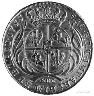 talar 1755, Lipsk, Aw: Popiersie i napis, Rw: Tarcza he...