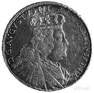 1/2 talara 1754, Lipsk, Aw: Popiersie i napis, Rw: Tarc...
