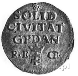 szeląg 1765, Gdańsk, Aw: Monogram, Rw: Napis i herb Gda...