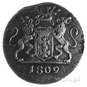 grosz 1809, Gdańsk, Aw: Herb Gdańska, Rw: Dwie gałązki;...