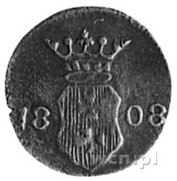 szeląg 1808, Gdańsk, Aw: Herb Gdańska, Rw: Dwie gałązki...