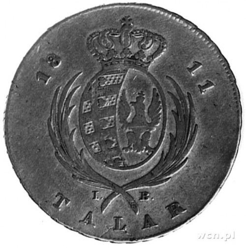 talar 1811, Warszawa, Aw: Głowa i napis, Rw: Tarcza her...
