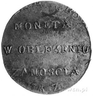 2 złote 1813, Zamość, Aw: Napis, Rw: Dwie gałązki i nap...