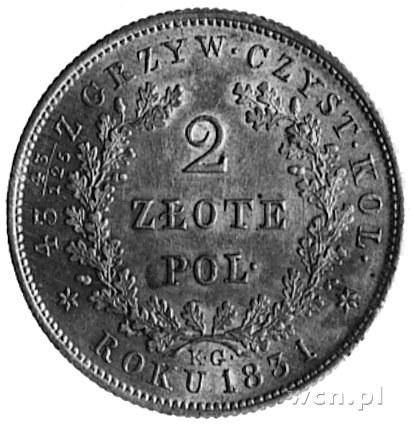 2 złote 1831, Warszawa, Aw: Tarcza herbowa i napis, Rw:...