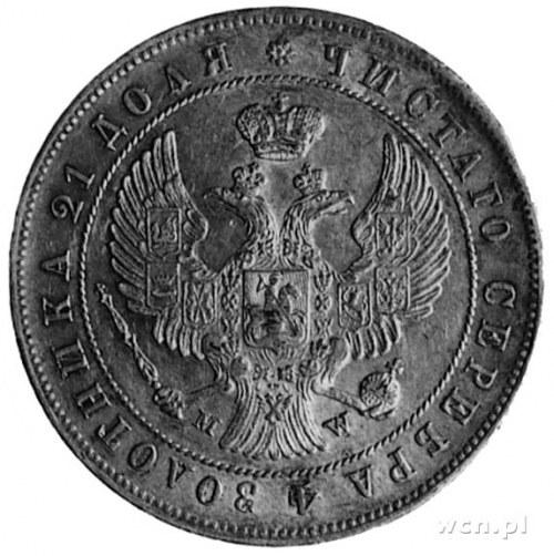 rubel 1844, Warszawa, Aw: Orzeł carski, Rw: Nominał w w...