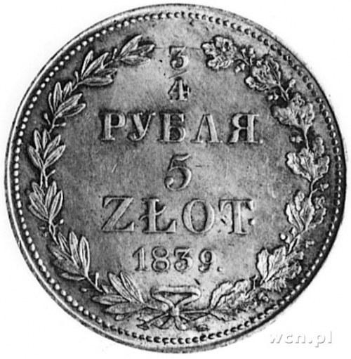 3/4 rubla=5 złotych 1839, Warszawa, Aw: Orzeł carski i ...