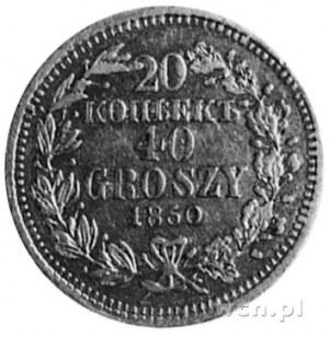 20 kopiejek=40 groszy 1850, Warszawa, Aw: Orzeł carski,...
