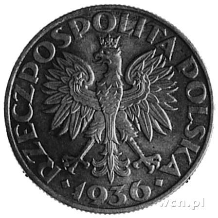 5 złotych 1936- Statek, na awersie napis PRÓBA, wybito ...