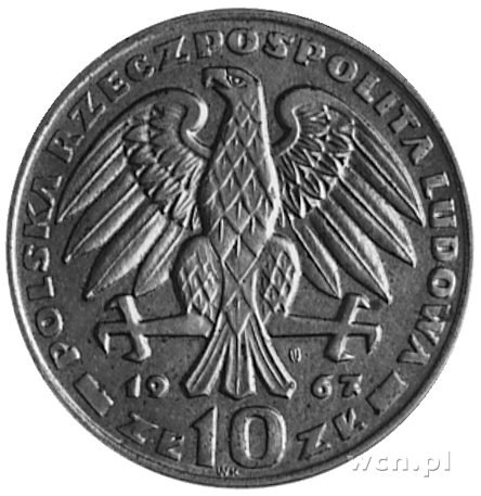 10 złotych 1967- Głowa gen. Karola Świerczewskiego w cz...