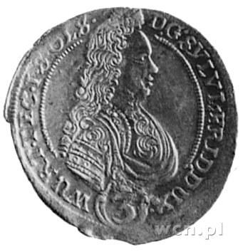 3 krajcary 1695, Oleśnica, Aw: Popiersie Sylwiusza Fryd...