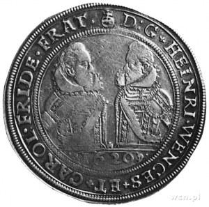 talar 1620, Oleśnica, Aw: Popiersia Henryka Wacława i K...